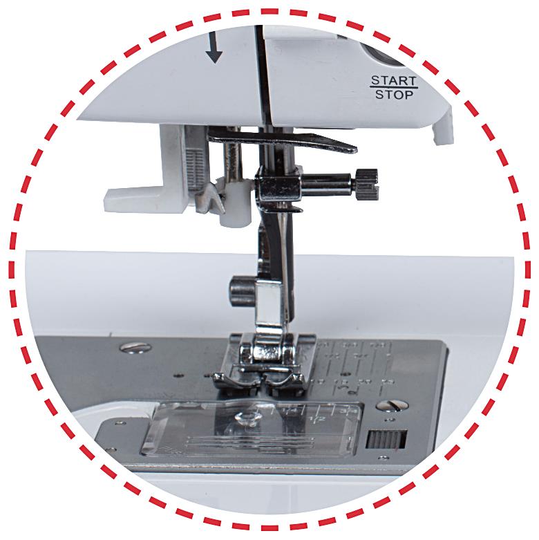 Navlékač nitě do jehly, stehy široké až 9 mm|Šicí stroj Garudan CREATIVO