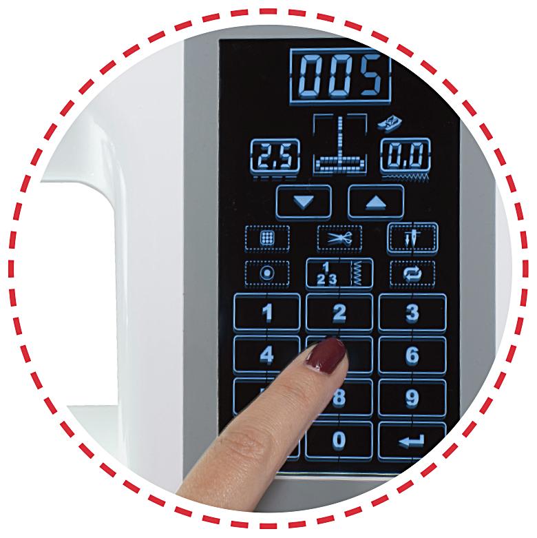 Dotykový displej, paměť, 500 vzorů|Šicí stroj Garudan CREATIVO GHE-1500