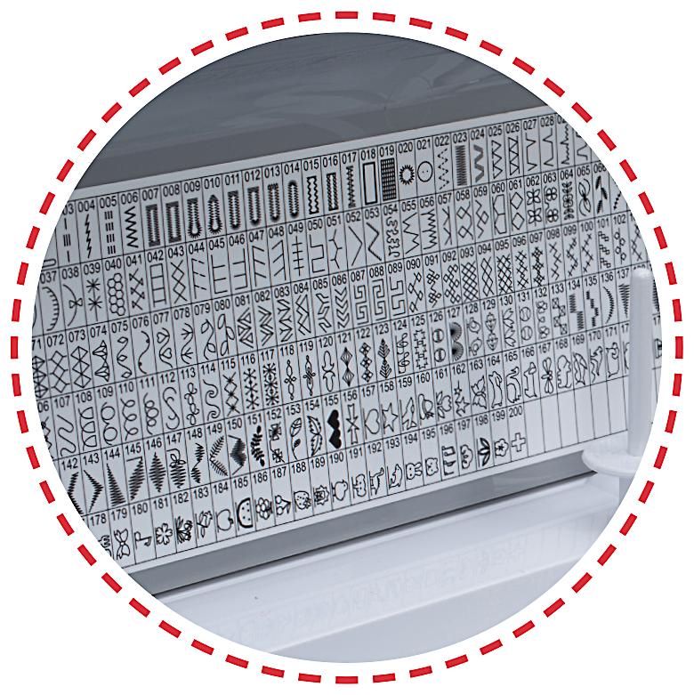 500 vzorů, 3 abecedy, kulatá dírka, 12 knoflíkových dírek|Šicí stroj Garudan CREATIVO