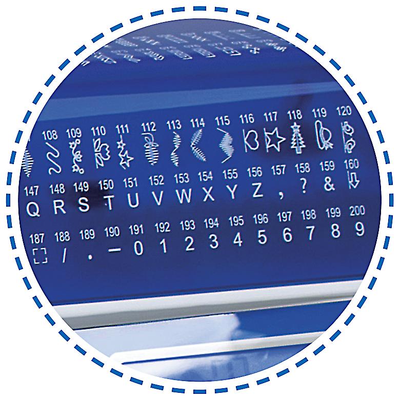 200 vzorů, overlockové stehy, abeceda Šicí stroj Garudan INSPIRO GHE-1200