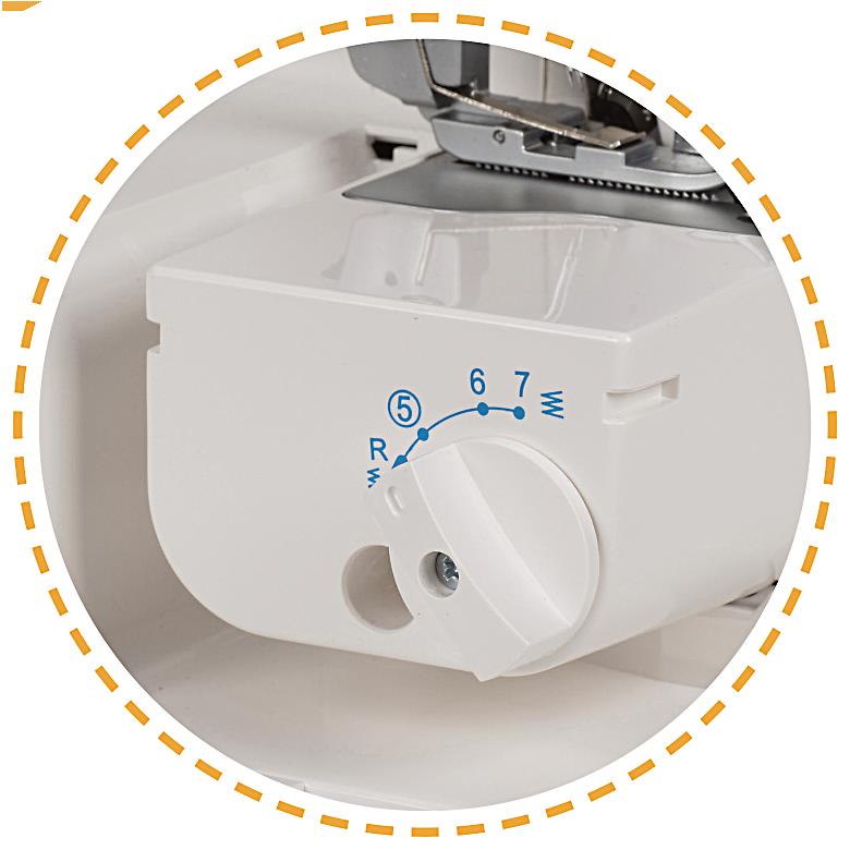 Volné rameno na malé kusy, lemování bez ořezu|Overlock VS 340D