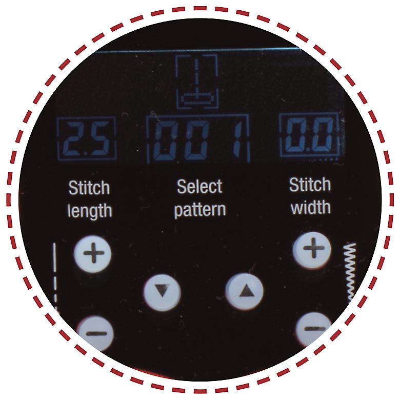 Přehledný displej, volba vzorů|Šicí stroj Garudan VISIO GHE-1207